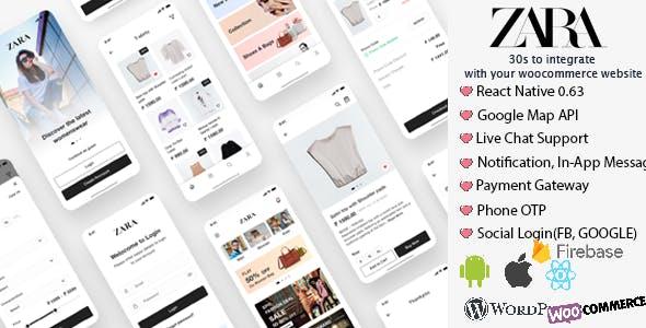 Zara App - React Native Woocommerce