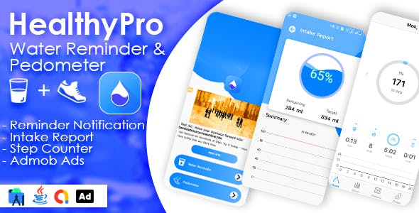 HealthyPro - 2 in 1 Water Reminder + Pedometer with Admob Ads
