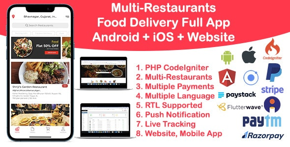 Food Delivery Multi Restaurant Ionic 5 + CodeIgniter (Android + iOS + Website + Admin) v1.0