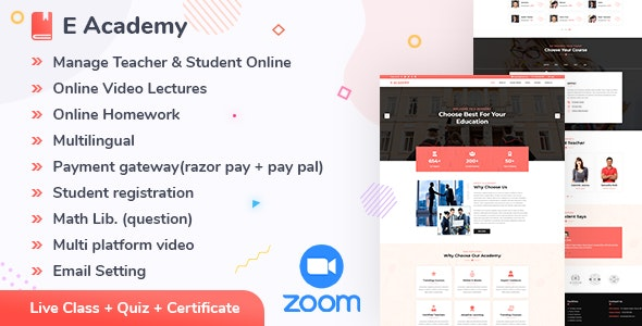 E- Academy v1.1 – Online Learning Management System & live streaming classes (web)