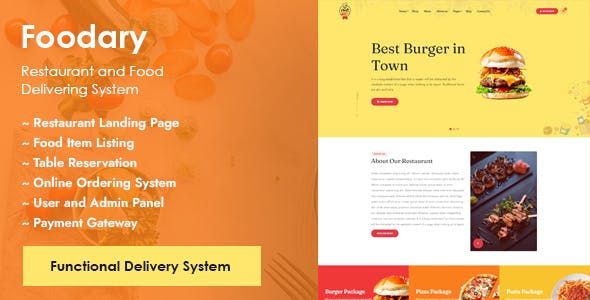 Foodary - Restaurant Landing with Online Food Ordering and Delivering System