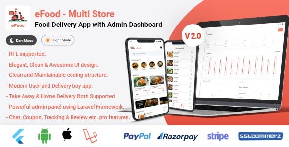eFood - Food Delivery App with Laravel Admin Panel + Delivery Man App V2.0