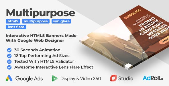 SunGlare - Multipurpose Animated HTML5 Banners With Interactive Lens Flare Effect (GWD)