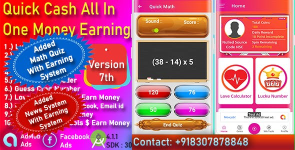 QuickCash All In One Money Earning Android App + Games + WhatsApp Tools + Earning System Admin Panel