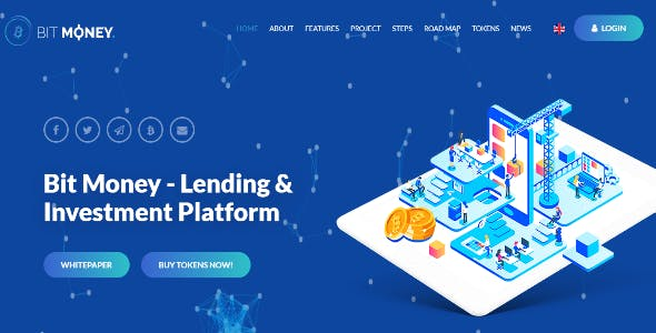 Bit Money Blue - Bitcoin Cryptocurrency ICO HTML Template