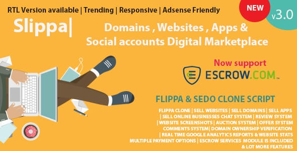 Slippa - Domains,Website ,App & Social Media Marketplace PHP Script
