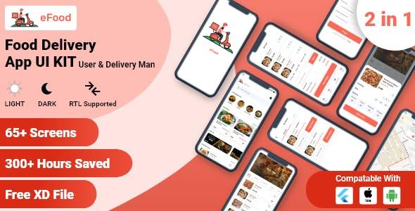 Food Delivery App Flutter UI Kit - User & Delivery Man App