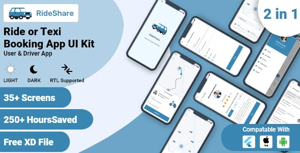 Taxi Booking or Ride Sharing Flutter UI Kit