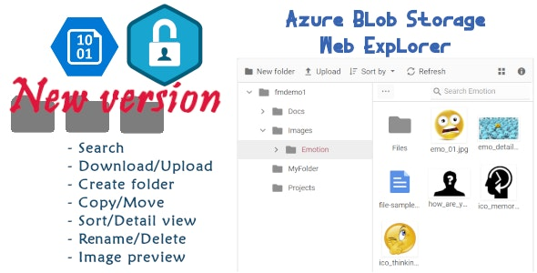 The new Azure Blob Storage Web Explorer UI with Azure AD Authentication - CodeCanyon Item for Sale