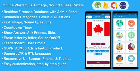 Online Word Quiz + Image Guess + Sound Guess Puzzle Game for Android - CodeCanyon Item for Sale