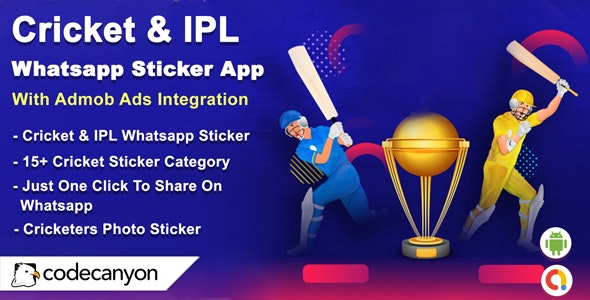 Android Cricket & IPL Whatsapp Sticker (Android 10 Supported) - CodeCanyon Item for Sale