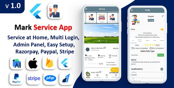 Mark Service App | Service At Home | Multi Payment Gateways Integrated | Complete Solution