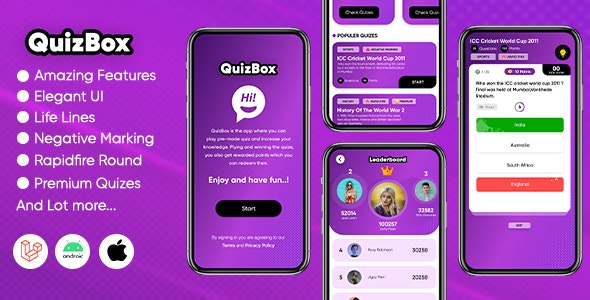 Quizbox - Online quiz application with amazing features (Android/Laravel) - CodeCanyon Item for Sale