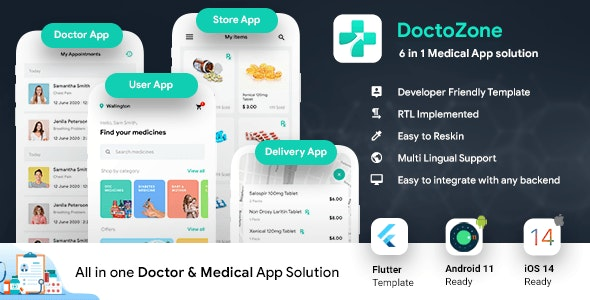 6 in 1 Doctor Appointment Booking App | Nearby Doctor App | Android + iOS Template | FLUTTER 2 - CodeCanyon Item for Sale