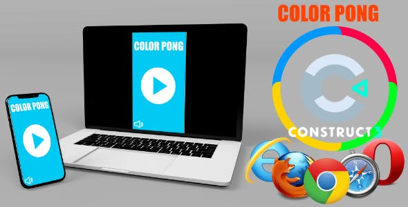 Color Pong HTML5 Game (Include  c3p, Construct 3 Source code)