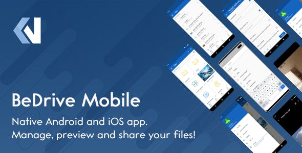 BeDrive Mobile - Native Flutter Android and iOS app for File Storage PHP Script