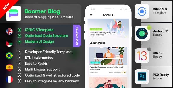 Blog Android App Template + Blog iOS App Template IONIC 5 | Boomer