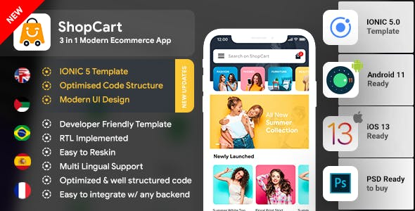 eCommerce Android App Template + eCommerce iOS App Template 3 Apps  IONIC 5   ShopCart
