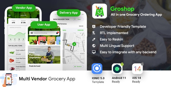 Grocery Delivery App   Grocery Ordering Android + iOS App Template   3 Apps   IONIC 5   Groshop - CodeCanyon Item for Sale