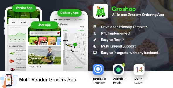 Grocery Delivery App   Grocery Ordering Android + iOS App Template   3 Apps   IONIC 5   Groshop