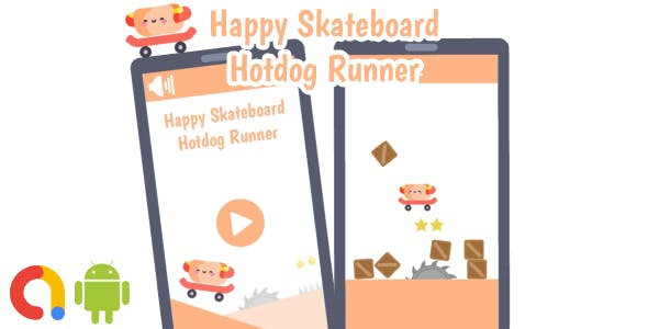 Happy Skateboard Hotdog Runner Game (Buildbox project + Android Studio Project + Admob ads)