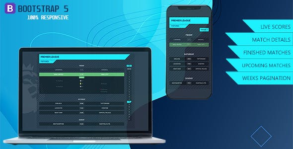 Responsive One Page Soccer Fixtures