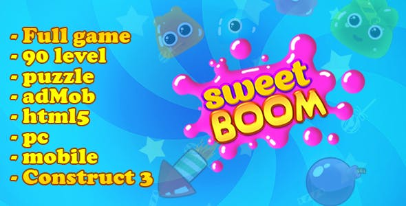 Sweet Boom -  full game. 90 level. html5, mobile (adMob), pc. C3