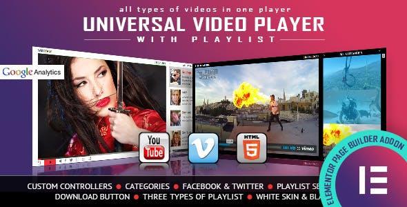 Universal Video Player - YouTube/Vimeo/Self-Hosted - Elementor Widget