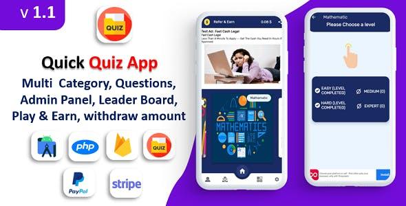 Quiz App | Quiz App | Multi Category | Amob Ads | Facebook Ads | Admin Panel