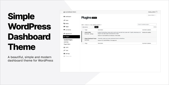 Simple Dashboard Theme / Admin Theme for WordPress - CodeCanyon Item for Sale