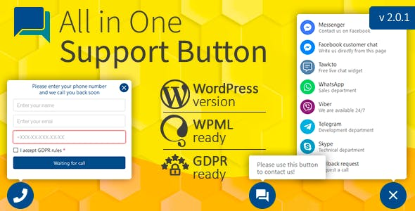 All in One Support Button + Callback Request. WhatsApp, Messenger, Telegram, LiveChat and more...