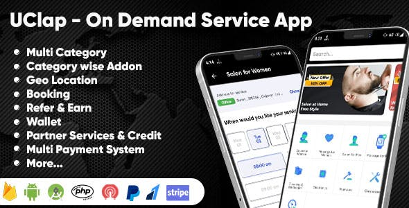 UClap - On Demand Home Service App | UrbanClap Clone | Android App with Interactive Admin Panel