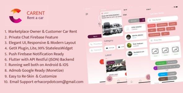 Carent - Rent Car Flutter Apps with API Backend