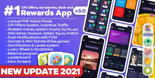 Premium Rewards App - CPI Offers System & Rewards App & HTML5 Mini Games + PHP Laravel Admin Panel - CodeCanyon Item for Sale