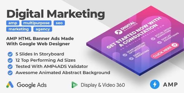 Digital Marketing Animated AMP HTML Banner Ad Templates (GWD, AMP)