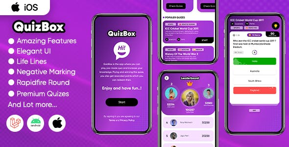 Quizbox iOS - Online quiz application with earning system (Swift/Laravel)