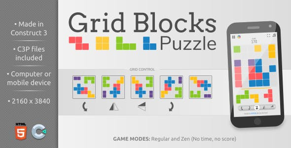 Grid Blocks Puzzle - HTML5 Casual game