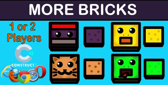 More Bricks - HTML5 Game + Assets (With Construct 3 All Source-code .c3p)