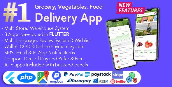 GoGrocer | Grocery, Vegetable & Food Delivery App | 6 Apps with PHP Backend