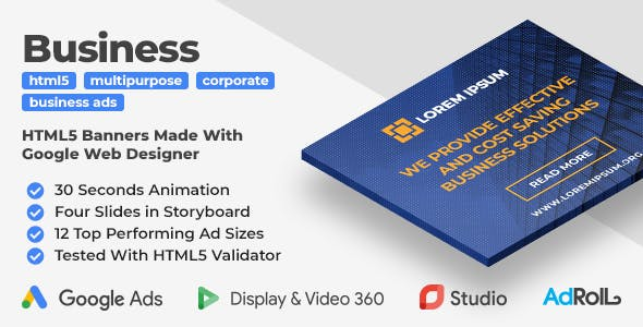 Multipurpose Business Ads - Animated HTML5 Banner Ad Templates (GWD)