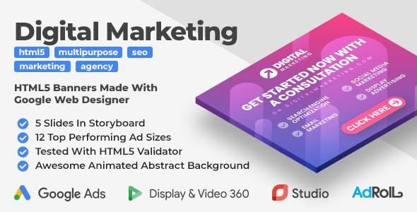 Digital Marketing Animated HTML5 Banner Ad Templates (GWD)