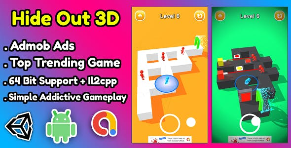 Hide Out 3D Game Unity Source Code + Admob Ads