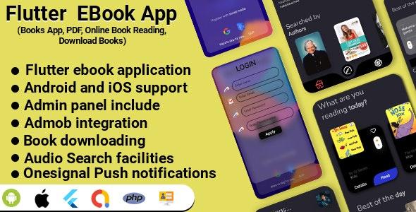 Flutter EBook App (Online eBook Reading, Download eBooks,Books App) v2.0