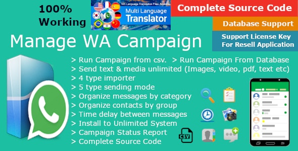 All in one WhatsApp Marketing, You can send Bulk messages to WA Number, Group and Broadcast list - CodeCanyon Item for Sale
