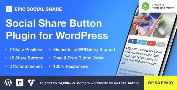 Epic Social Share Button for WordPress & Add Ons for Elementor & WPBakery Page Builder - CodeCanyon Item for Sale