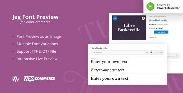 Jeg Font Preview - WooCommerce Extension WordPress Plugin