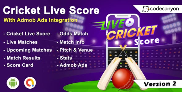 Android  Cricket App - Cricket live score with Admob
