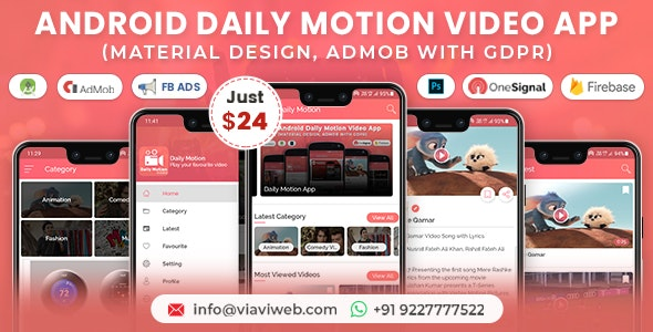 Android Daily Motion Video App (Material Design,Admob with GDPR) - CodeCanyon Item for Sale