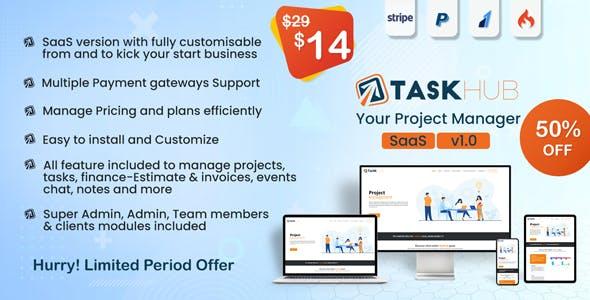 Taskhub SaaS - Project Management Tool, Finance & CRM Tool