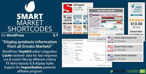 Smart Market Shortcodes - Plugin for WordPress and Envato Market - CodeCanyon Item for Sale